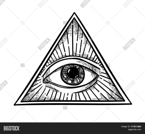 Hand Drawn Vector Illustration All Seeing Eye Pyramid