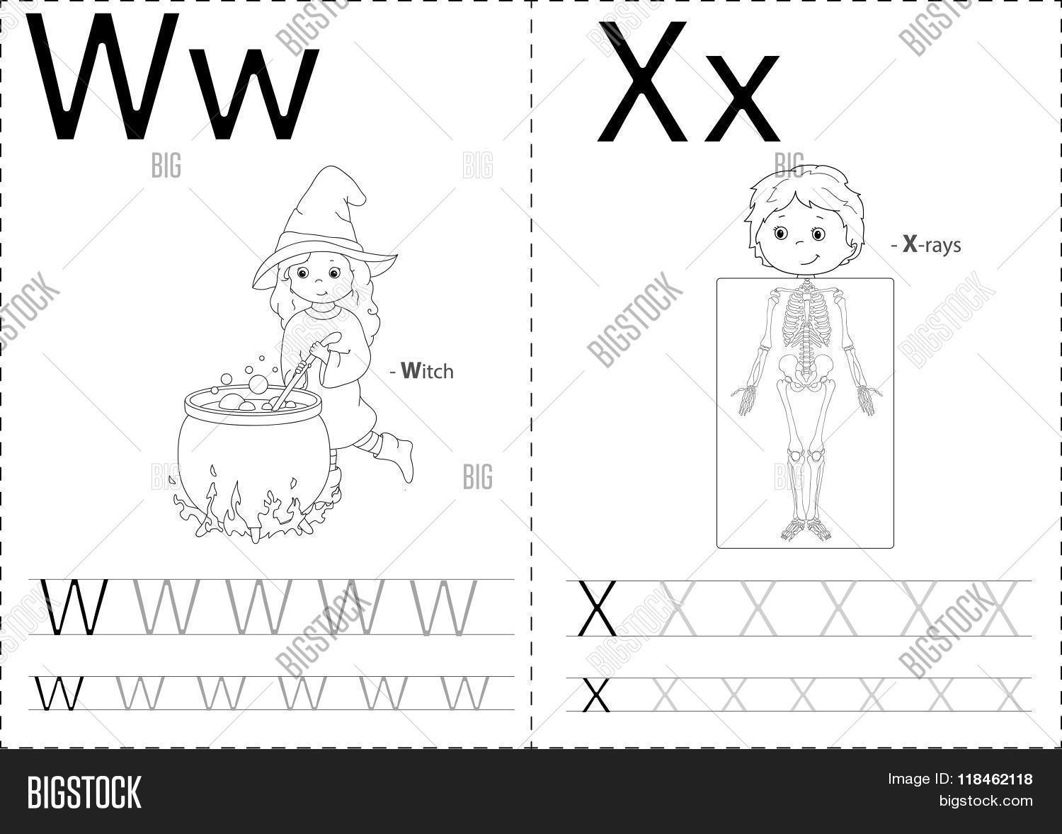 Cartoon Witch And X Rays Alphabet Tracing Worksheet Writing A Z And Educational Game For Kids