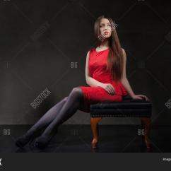 Red Heel Chair Distressed Adirondack Chairs Beautiful Model Girl Sitting On Image And Photo Bigstock