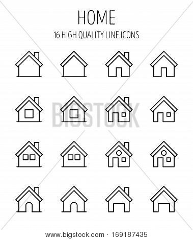 Set of home icons in modern thin line style. High quality