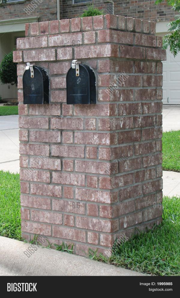Neighborhood Brick Double Mailbox Stock &