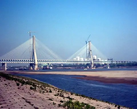 $1.7 BILLION: The Wuhan Tianxingzhou Yangtze River Bridge is a combined road and rail bridge across the Yangtze River in the city of Wuhan