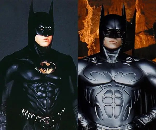 "June 1995: ""Batman Forever"" – Val Kilmer wears two batsuits in the film. The more sleak ""Panther suit"" (left) came complete with black utility belt and controversial bat nipples. The Sonar suit (right) was a metallic silver piece of armor with the bat logo spread across the chest."