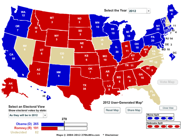 Romneys Tight Electoral College Map Business Insider