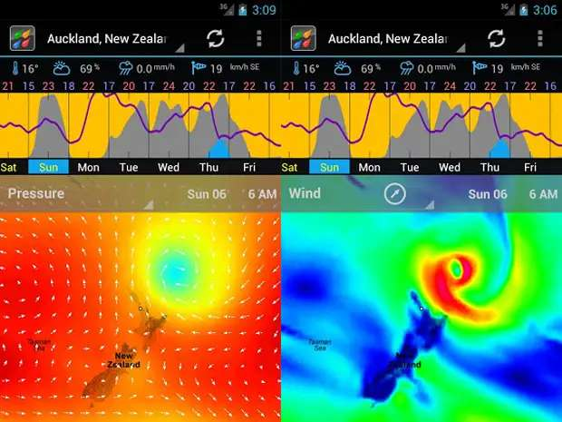 Weather Bomb gives a data-intensive view of the weather on your Android device