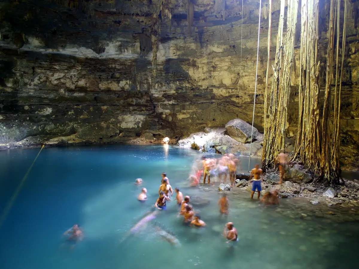Bathe in a cenote (a deep natural sinkhole) in the Yucatán, Mexico.