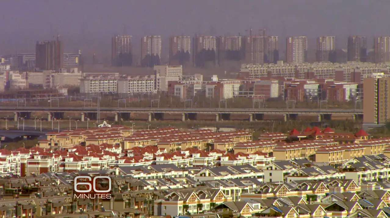 "This is Zhengdong New Area, the Hennan Province ghost city toured by ""60 Minutes."""