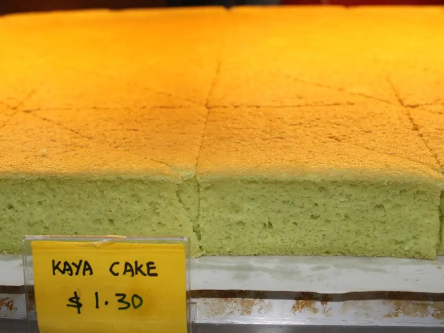 Kaya cake is a sweet spongy cake that's made with kaya (coconut jam).