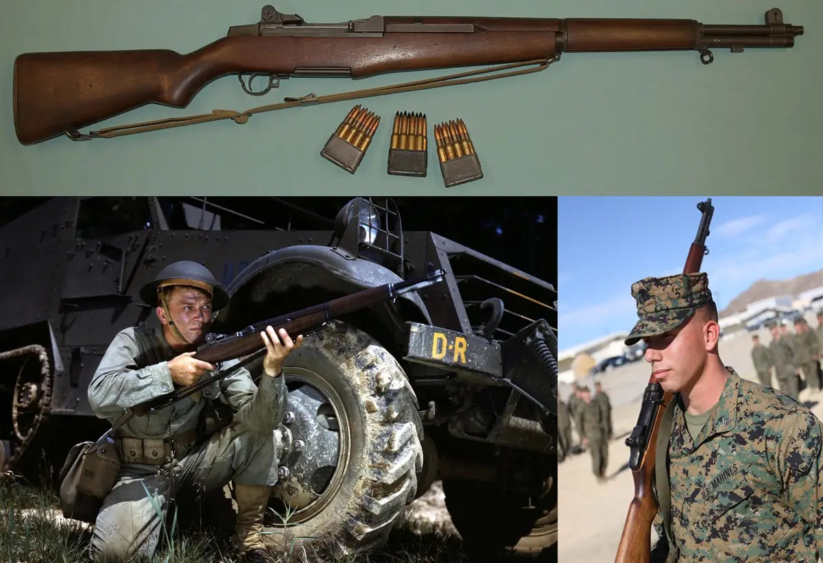 The M1 Garand — As the first standard issue semi-automatic rifle, this weapon redefined small-arms combat the world over. It had a huge stake in World War II and the Korean War.