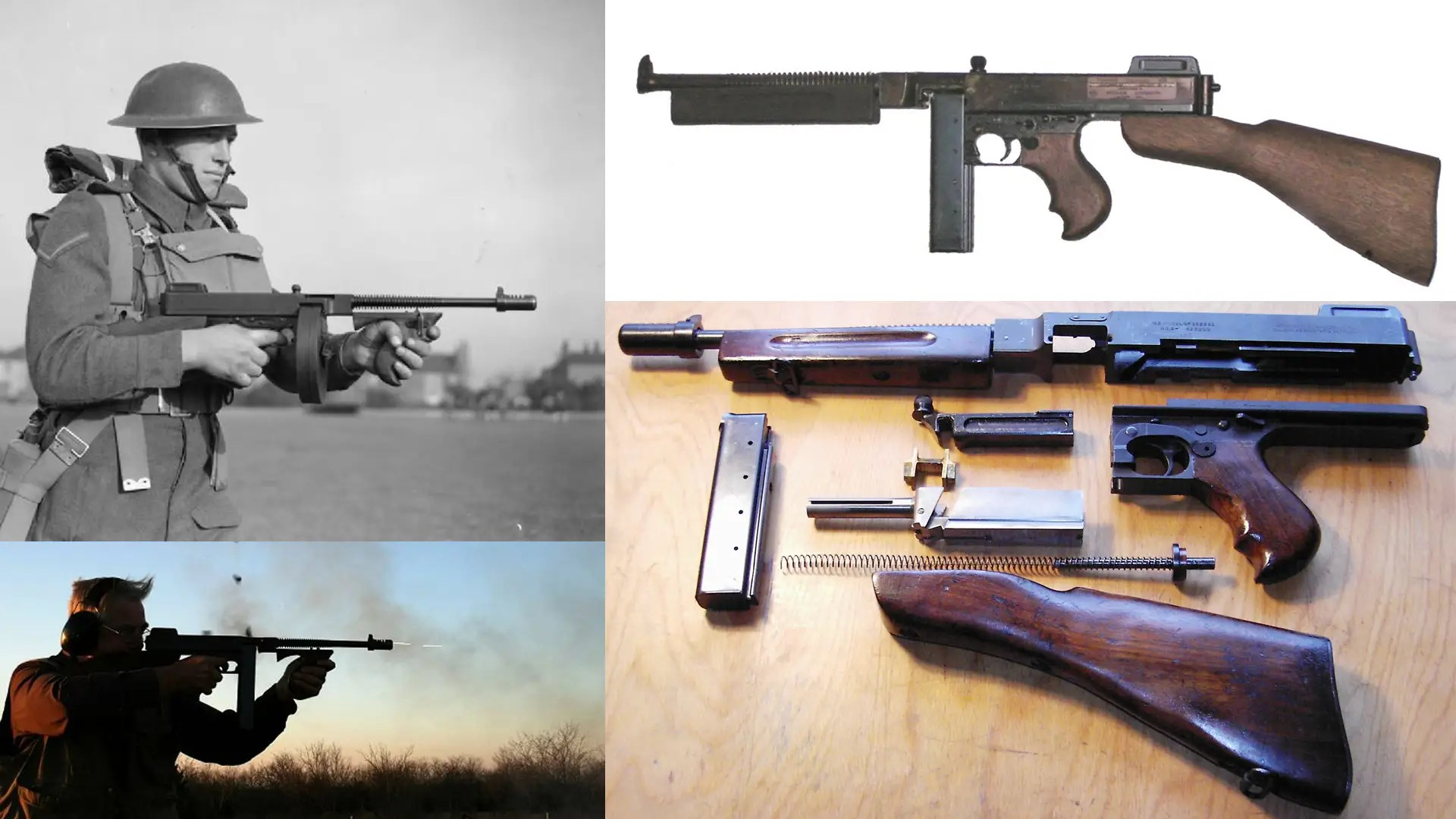 "The Thompson Submachine Gun — Used by World War I soldiers and gangsters, the ""Tommy Gun"" is one of the most recognizable and versatile weapons on the planet. It is compact, easy to wield, and shoots a large .45-caliber bullet as quickly as 1,500 rounds per minute."