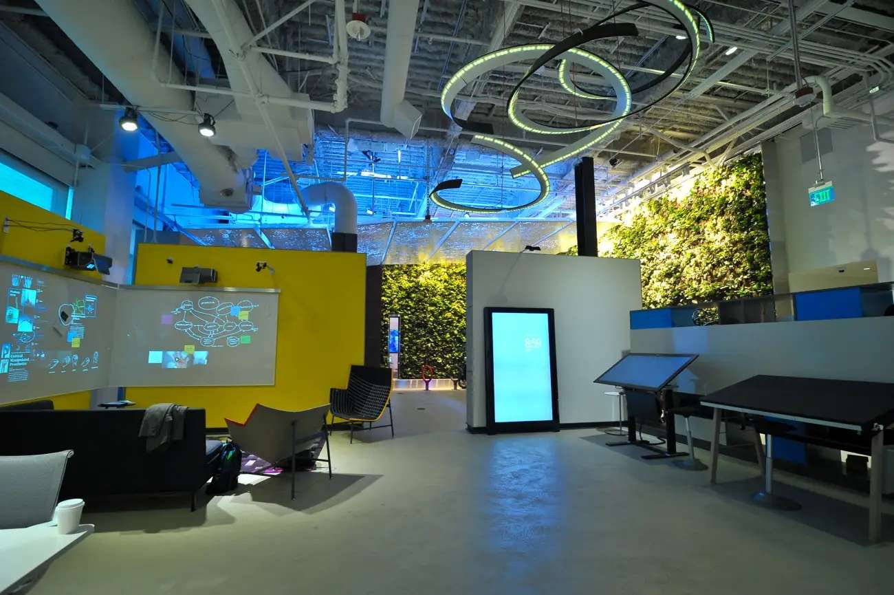 It recreated a workplace of the future, a home of the future, and more in this space.