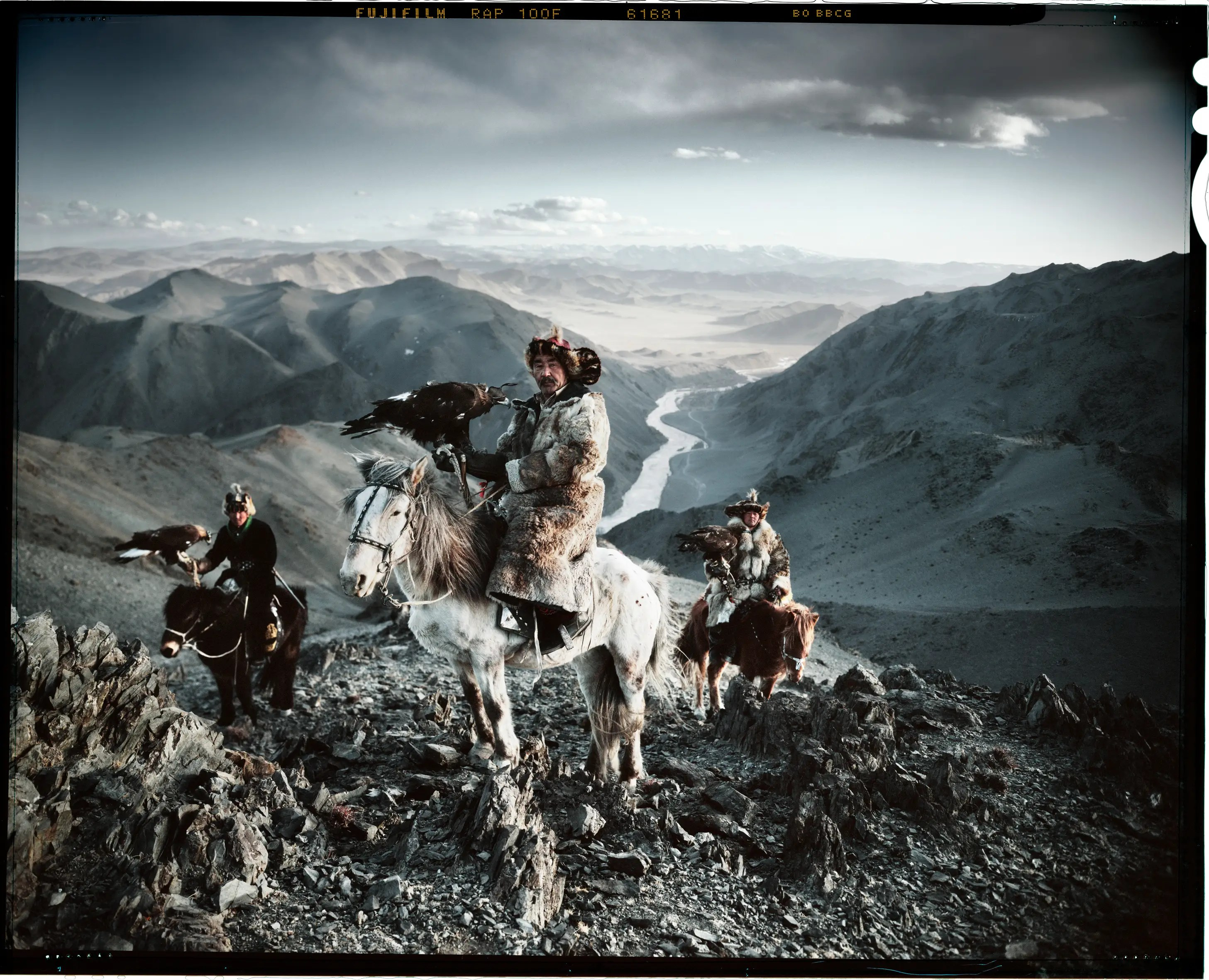 """Photographer Jimmy Nelson published a book called """"Before They Pass Away"""" showing the vanishing tribes of the world. Here are three Kazakh men using eagles to hunt."""