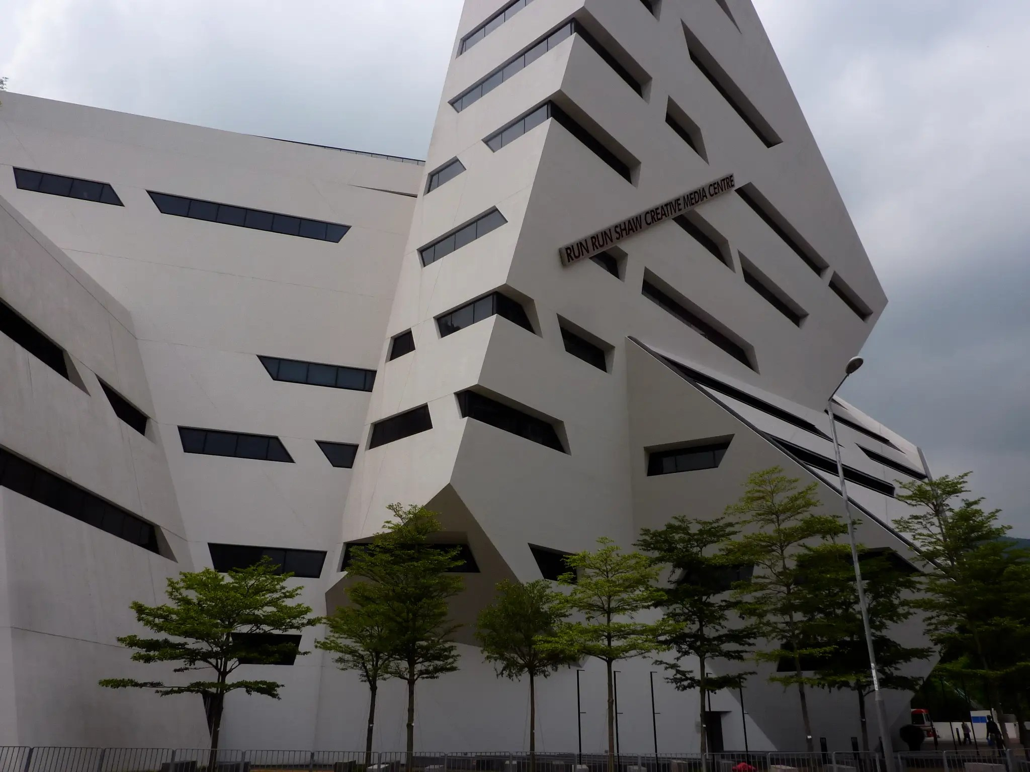 The Run Run Shaw Creative Media Centre at the City University of Hong Kong was designed by New York-based architect Daniel Libeskind. It houses laboratories, theaters, and classrooms for the school's departments of computer engineering and media technology.
