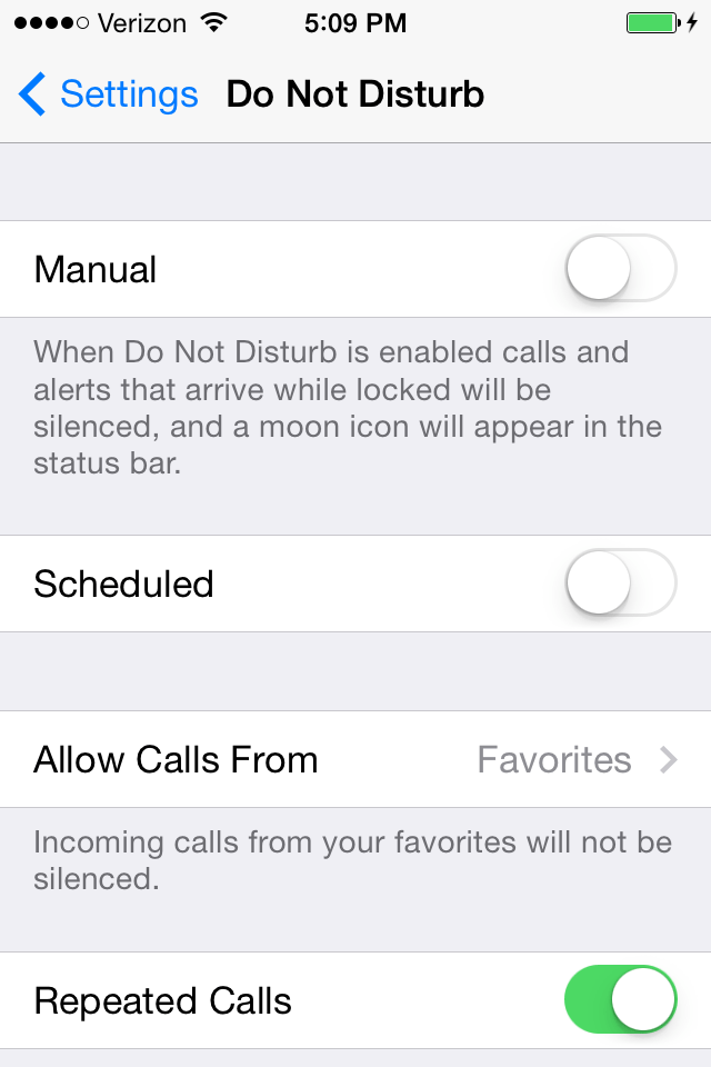 Want some quiet time? Go to Settings > Do Not Disturb. This feature prevents phone calls and alerts from coming through while your phone is locked.
