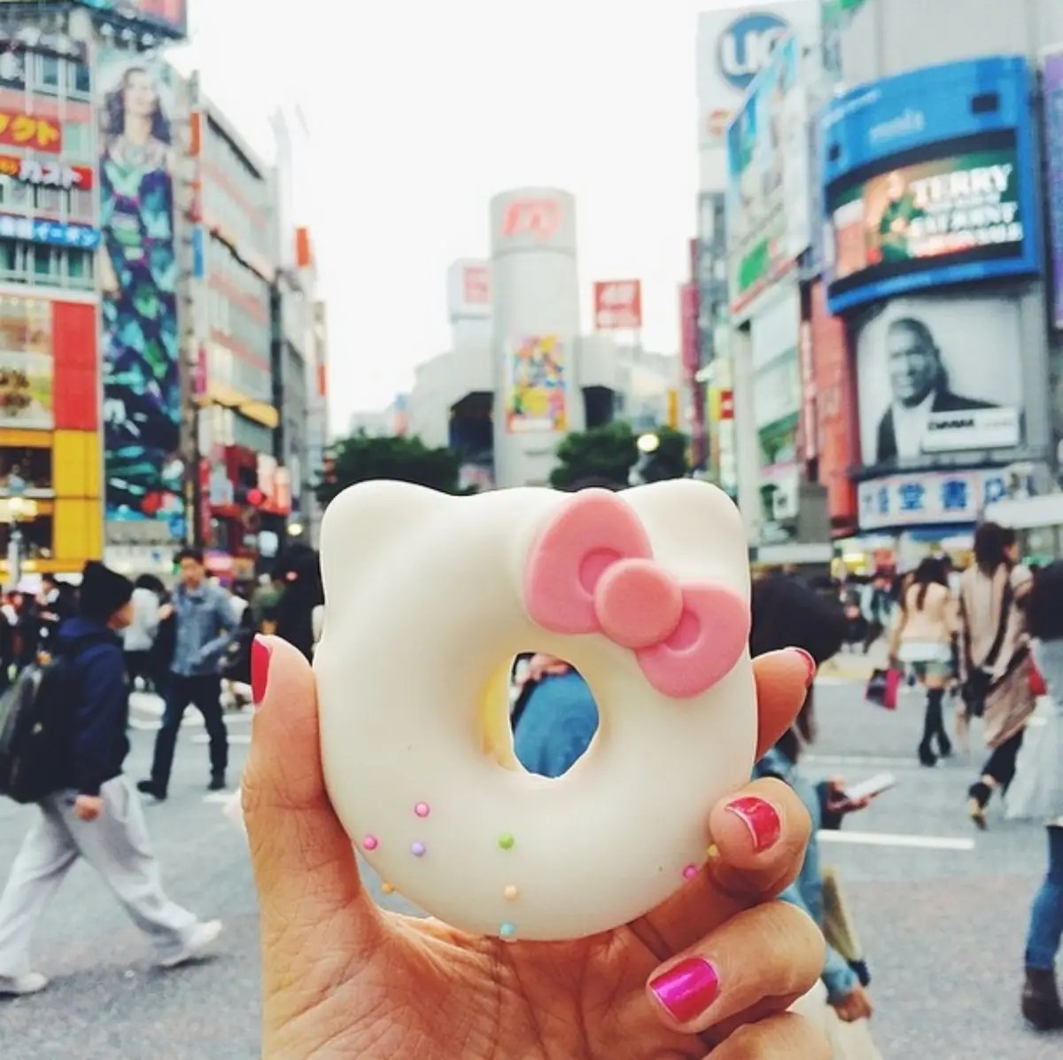 Hello Kitty Donut at the Shibuya crossing in Tokyo, Japan! This was too cute to pass up, from the basement of Hikarie building, one street away from Hachiko.