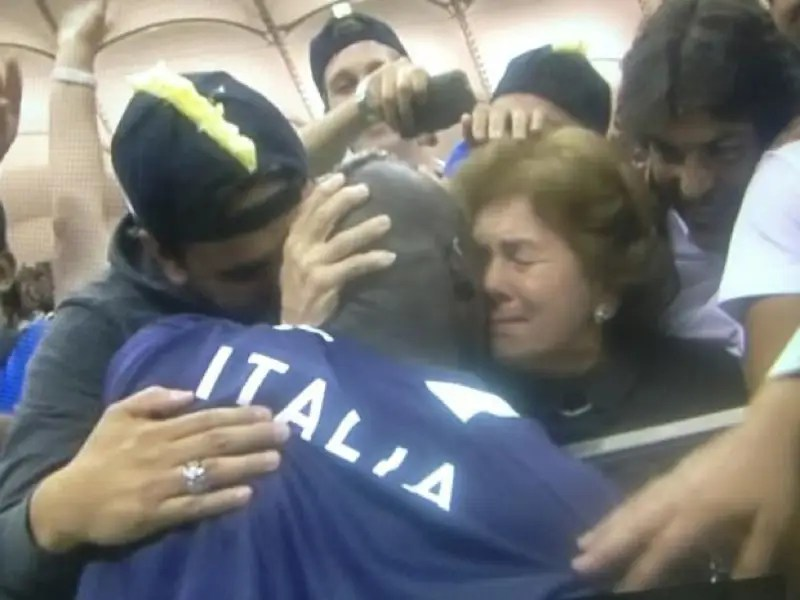 He showed a glimpse of the real Mario when he hugged his adoptive mother, Silvia, after a Euro 2012 game.