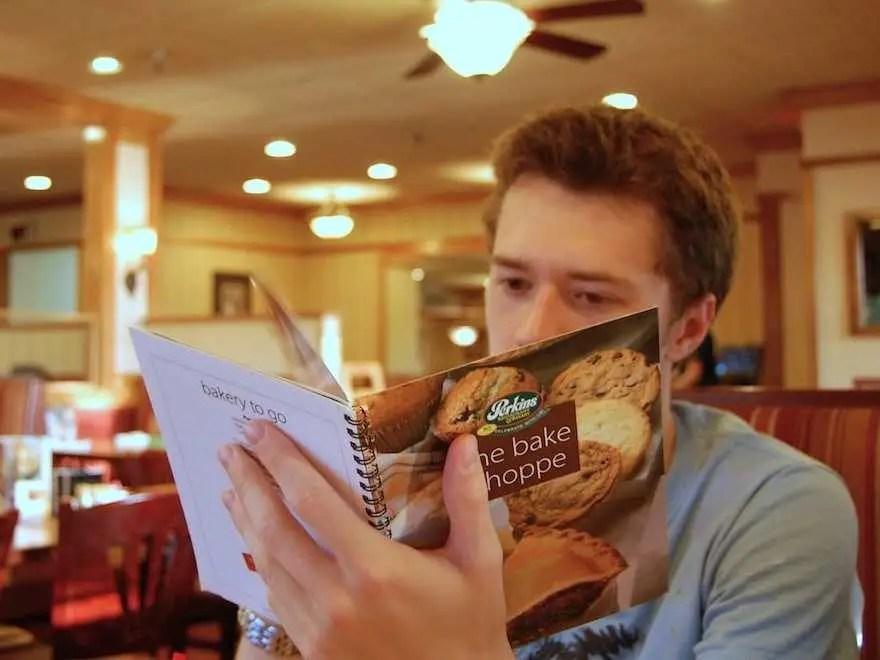 reading restaurant menu
