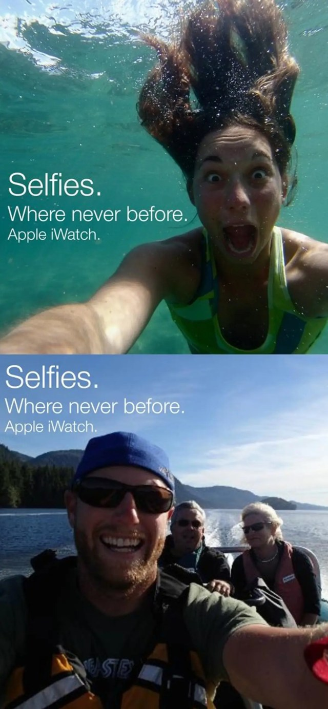 Selfies on the iWatch could be taken with a waterproof camera.