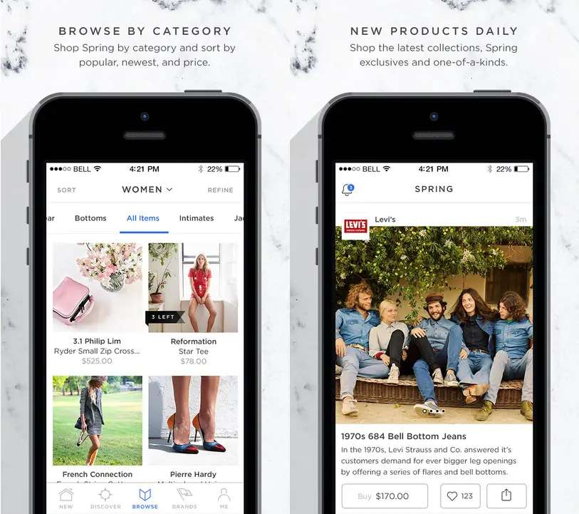 Spring is a shopping app that works with Apple Pay.