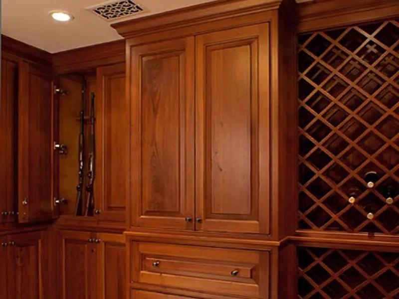 A gun room which doubles as a wine cellar.