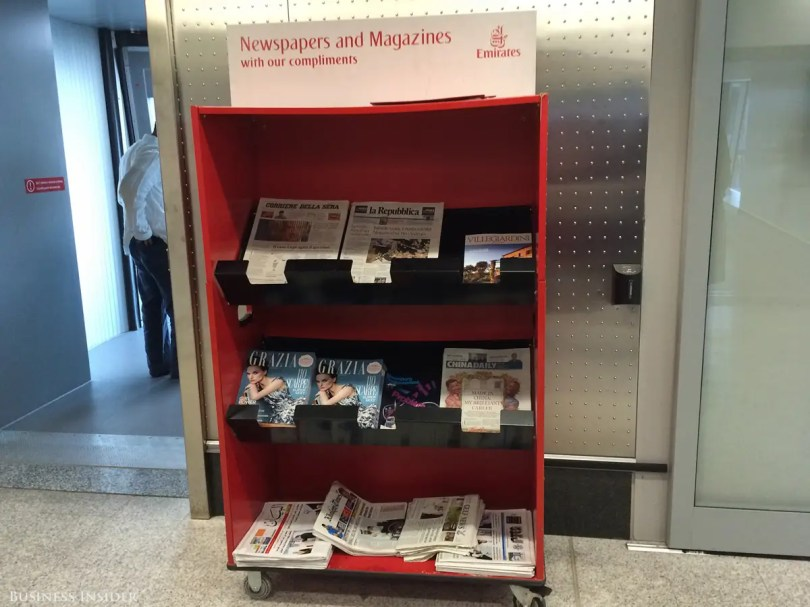 Even before I boarded my flight from Milan to New York, I could tell this would be different from a flight on most domestic airlines. Any passenger — not just those in business class — could take a newspaper or magazine for the trip.