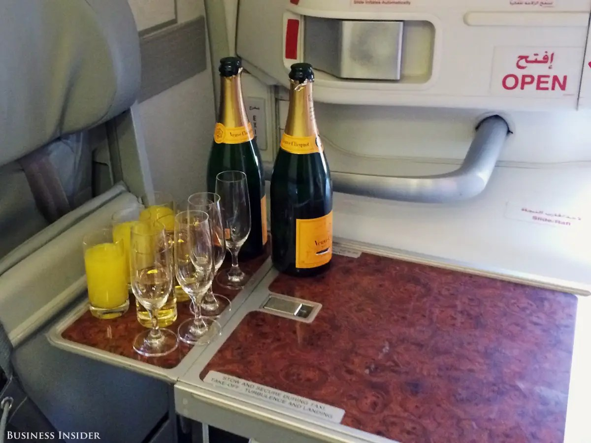 Freshly poured mimosas were available upon boarding, but unfortunately for me, those were reserved for business-class travelers.
