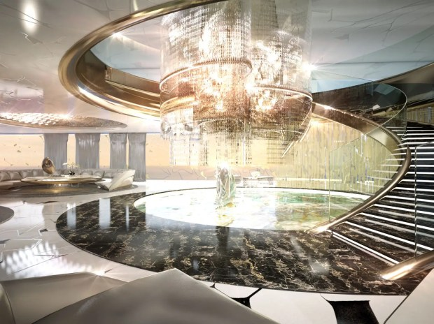 Inside, the yacht is packed with extravagant details. This main salon area is massive.