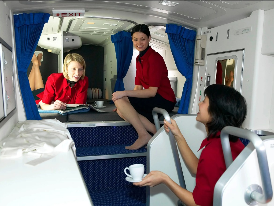 The crew certainly seems to enjoy the overhead rest areas on Boeing 777s, which, depending on the airline, can fit six to 10 bunks, as well as personal storage space for each crew member.