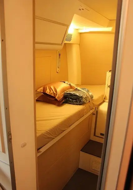 While most beds seem claustrophobic, this cabin on Singapore's Airbus A380 looks comfortable.