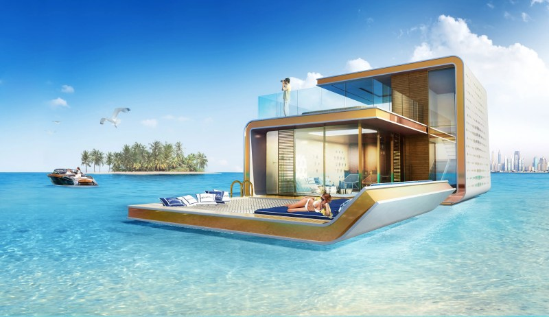 The floating homes will have a massive floating bed as well as an observation deck above water.