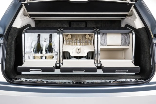 You can elect to get the version with the Mulliner Hamper Set, which comes with a refrigerator, fine china, and a storage area for food.