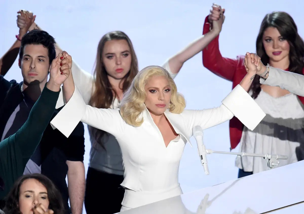 """BEST: Lady Gaga's performance of her nominated song from the documentary """"The Hunting Ground"""" — which looks at rape on college campuses — was the most moving moment of the night. She was accompanied by sexual-assault survivors."""