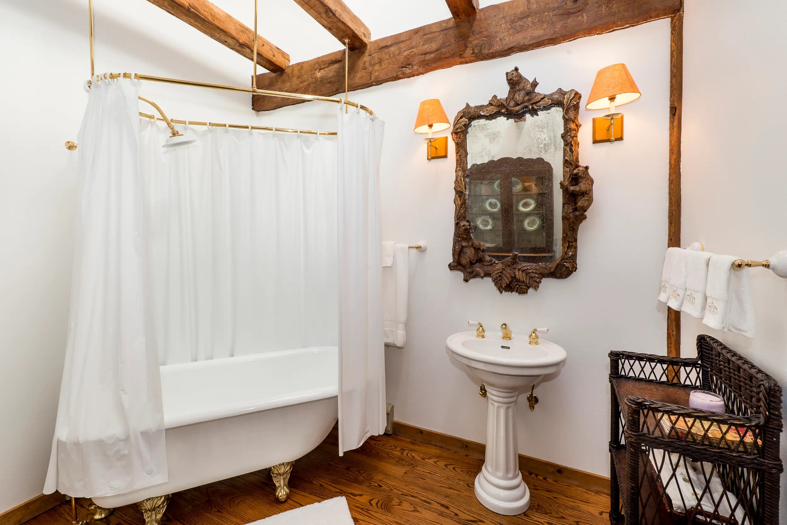 It's old-fashioned, with a freestanding clawfoot tub in one of the bathrooms.