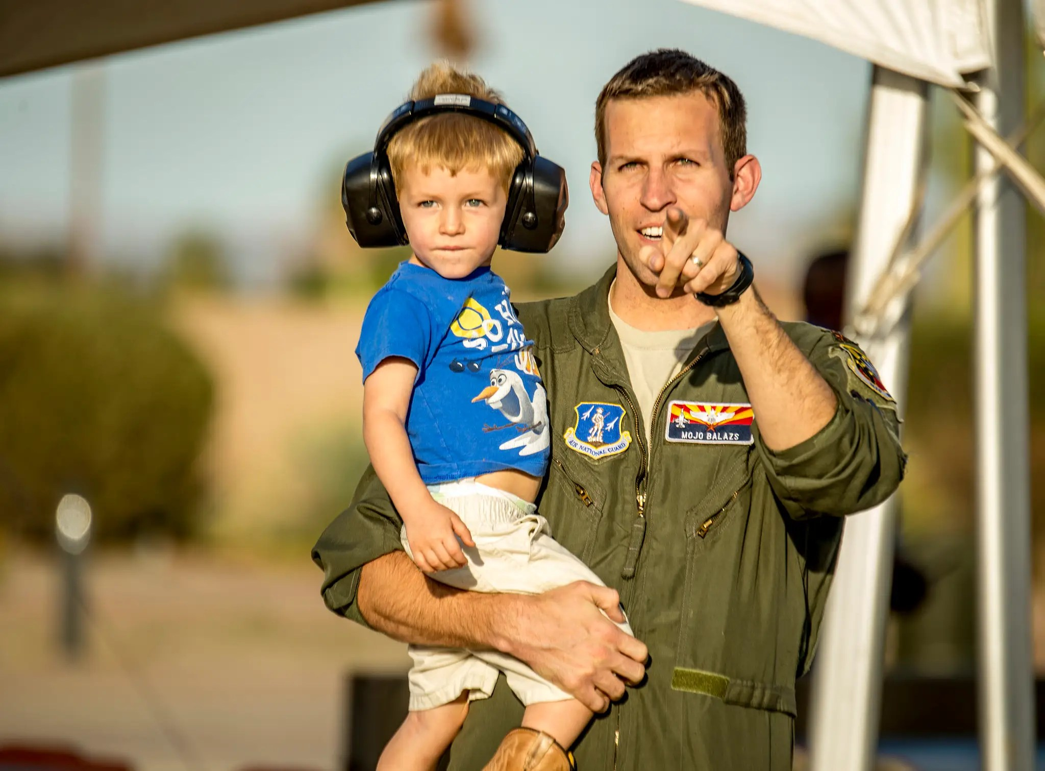 An airman and his son take in the sights.