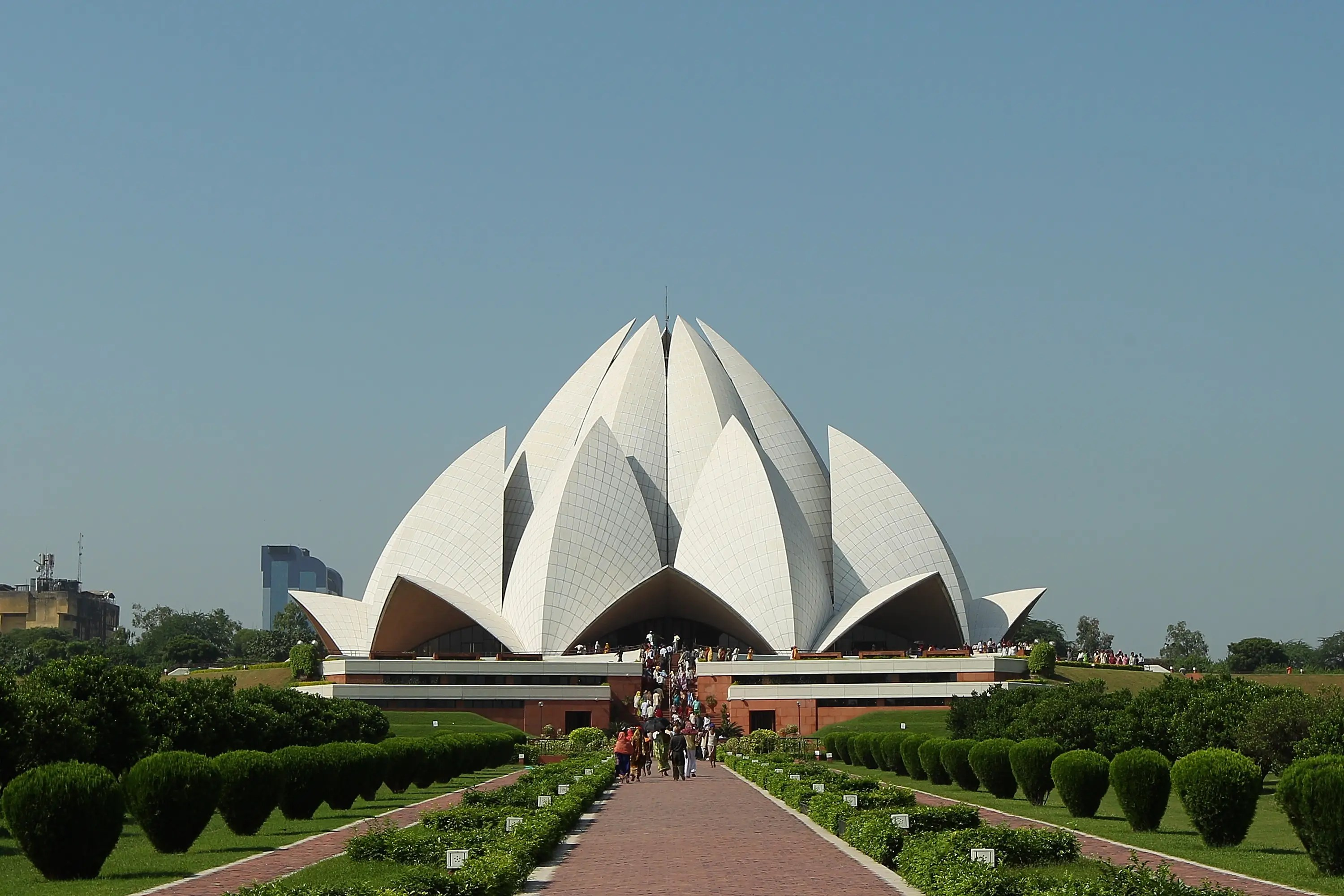 19. The Lotus Temple in Dehli, India draws hordes of tourist with its striking modern design.