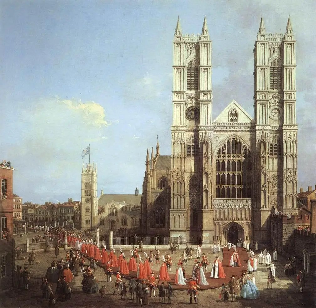 Westminster Abbey, built in the second century, is a World Heritage Site and one of London's oldest and most important buildings. Here it is in a 1749 painting.