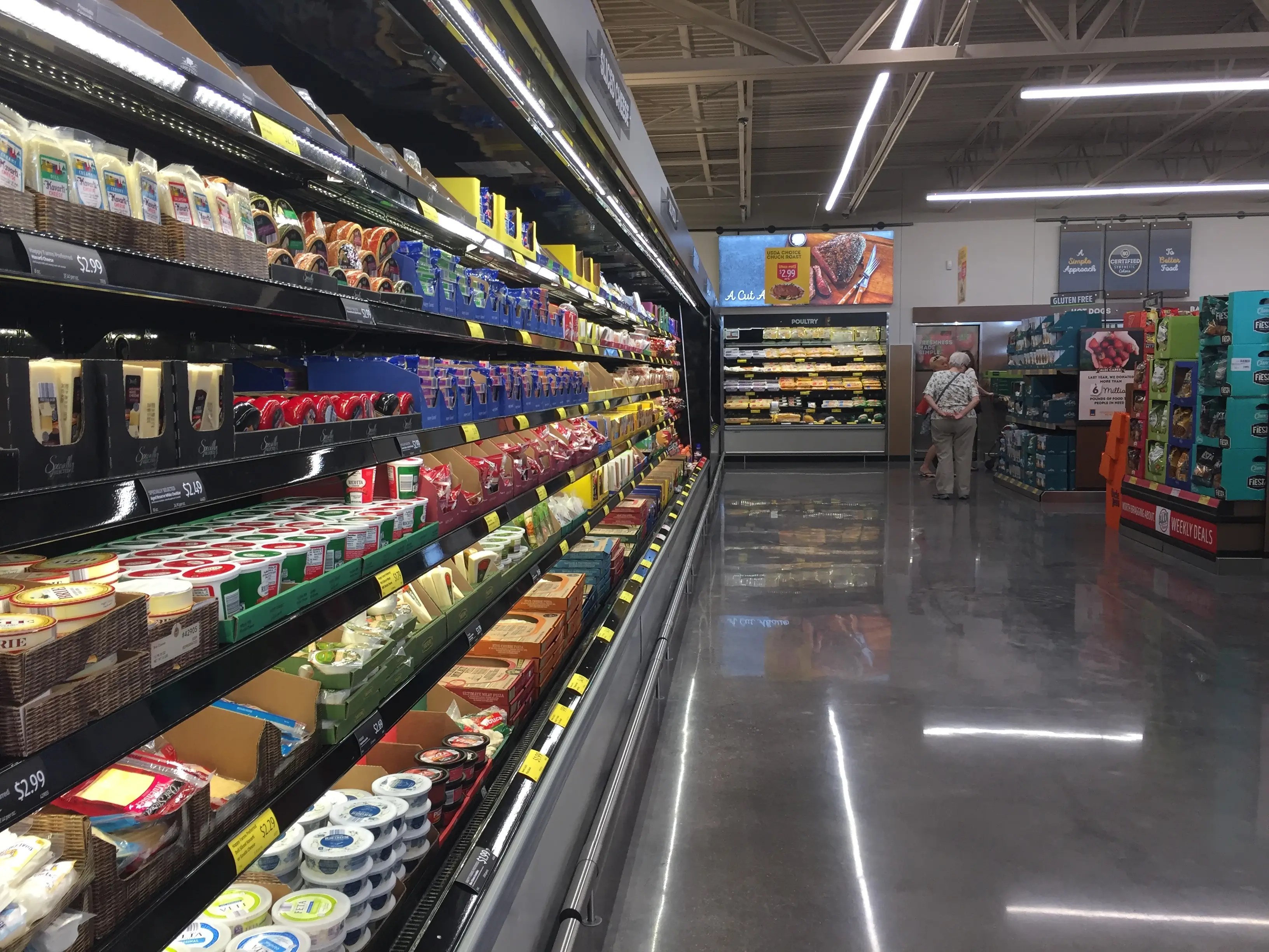 Like at 365 by Whole Foods, there's no deli at the Aldi store, but there are tons of packaged cheeses and meats to choose from.