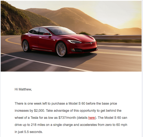 Tesla Model S 60 sales pitch