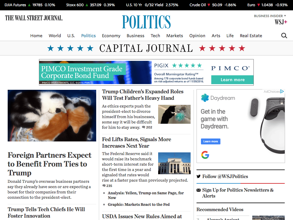 When you begin browsing, any photo of Trump will immediately change to one of kittens. Here's The Wall Street Journal's politics page, complete with some kittens taking a nap.