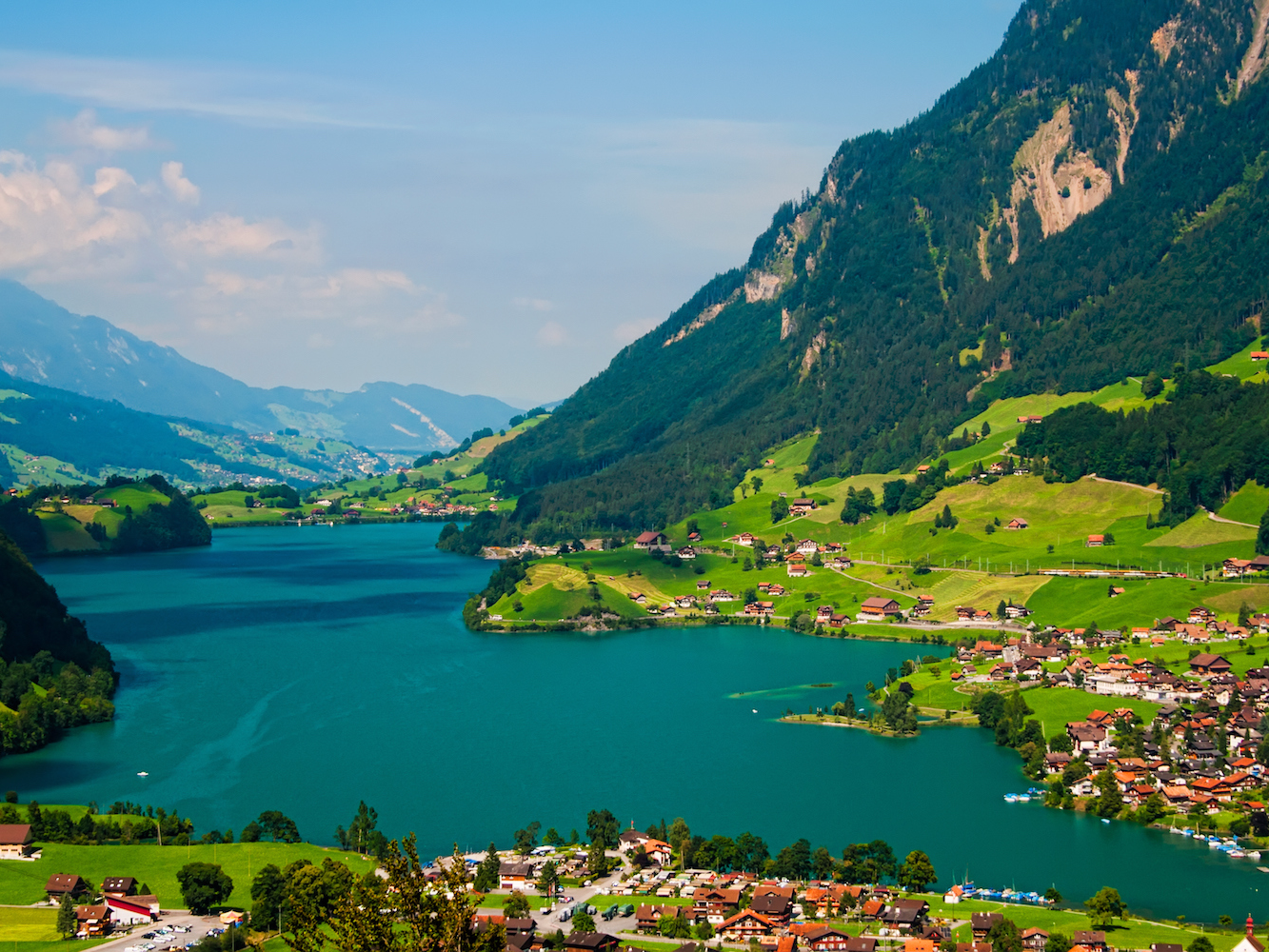 The town's beautiful scenery is thanks to the fact that Interlaken is nestled into a valley, between Lake Thun and Lake Brienz.