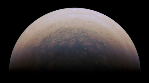 Another view of Jupiter's south pole makes the planet appear like a regal giant.