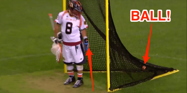 Lacrosse goalie hit fullfield shot as opposing goalie was