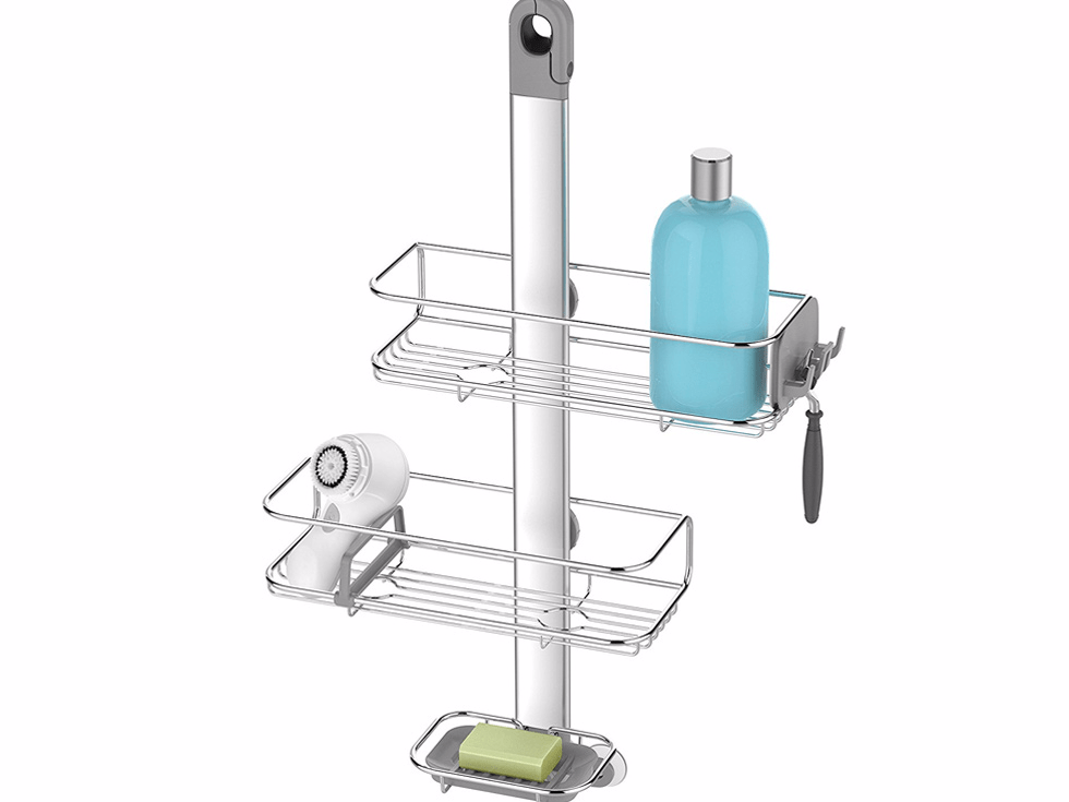 An adjustable hanging shower caddy to clear out the shower space.
