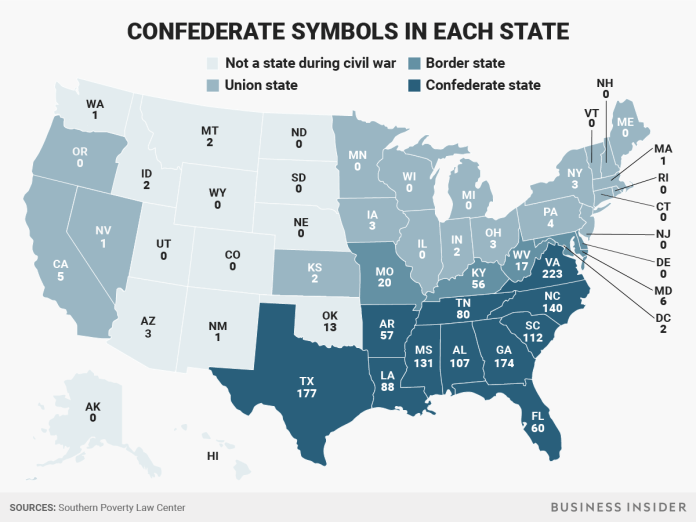 confederate monuments symbols in each state Confederate statues meant to be everlasting symbols of white supremacy Confederate statues meant to be everlasting symbols of white supremacy bigraphics mapconfederate 2