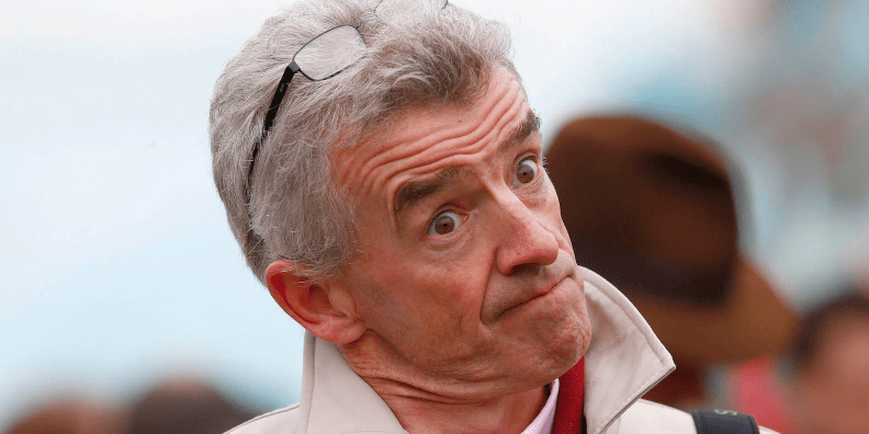 Ryanair CEO Michael O'Leary reacts on the fourth day