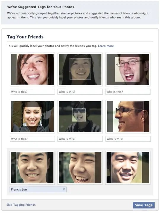 Facebook facial recognition tag suggestions