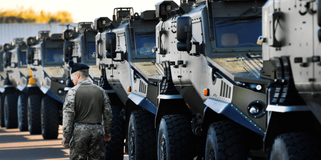British UK military vehicles NATO exercise