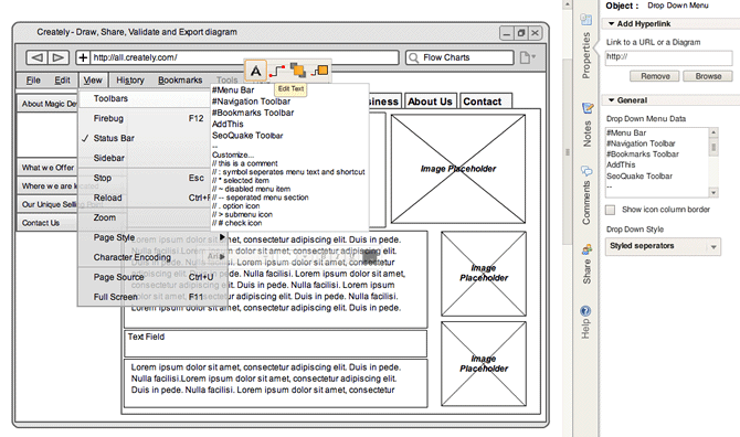 wireframe diagramming