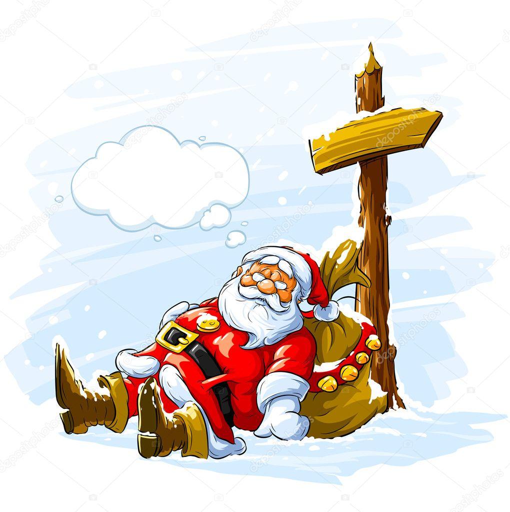 Christmas Santa claus sleeping near the  Stock Vector