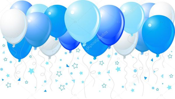 blue balloons flying stock